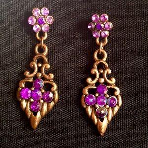 Vintage Purple 80's Retro Earrings
